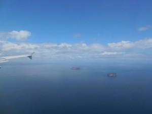Arrivée au dessus de Baltra – Galapagos
