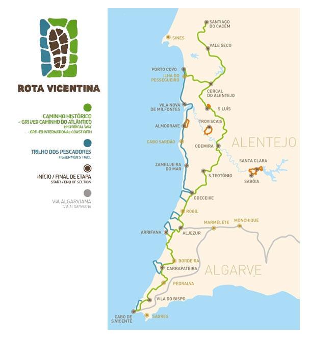 Carte Rota Vicentina – Voyage Portugal