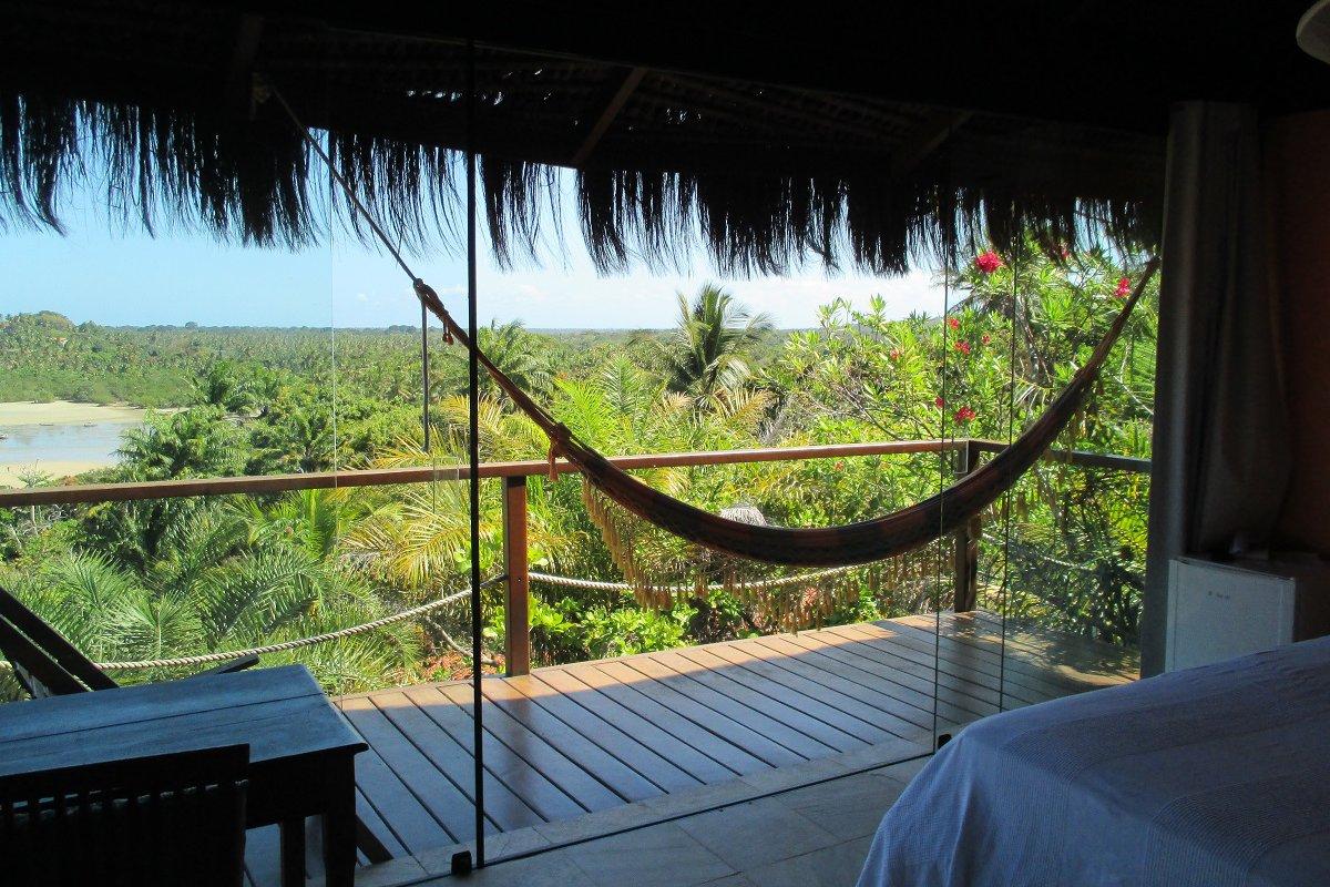 Vue depuis une chambre de la Pousada Alizées Moreré – voyage de noces à Bahia au Brésil