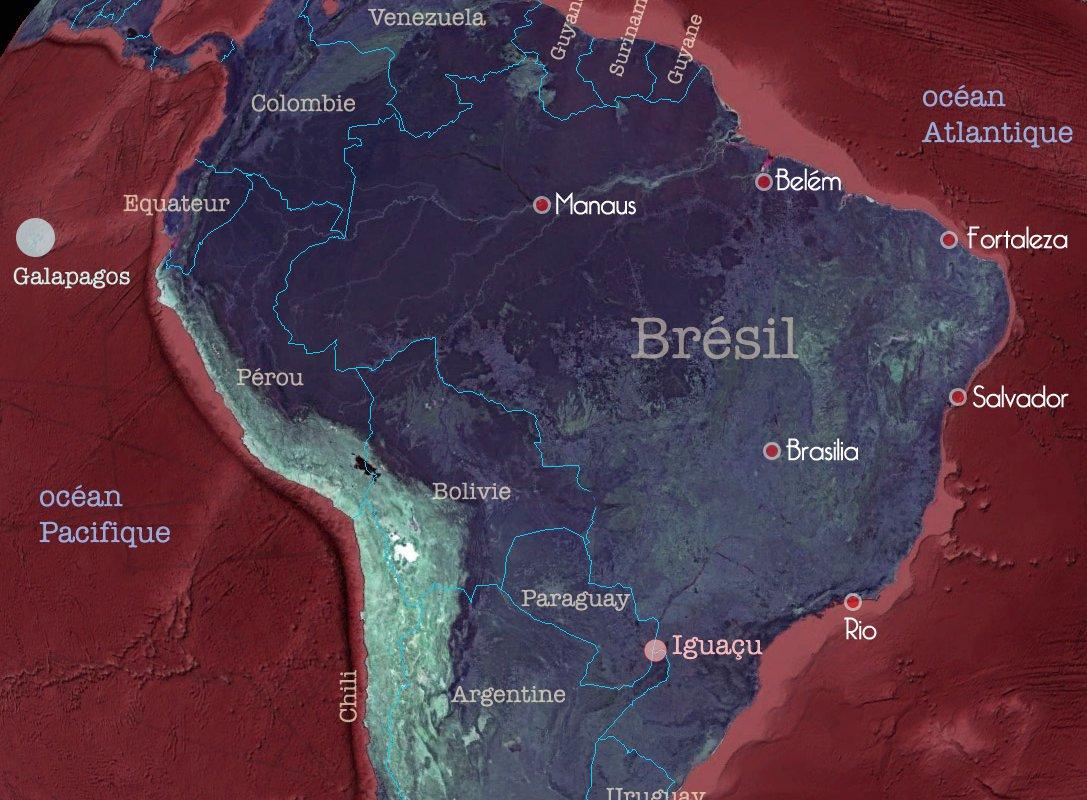Carte du Brésil et des pays limitrophes – Amérique du Sud