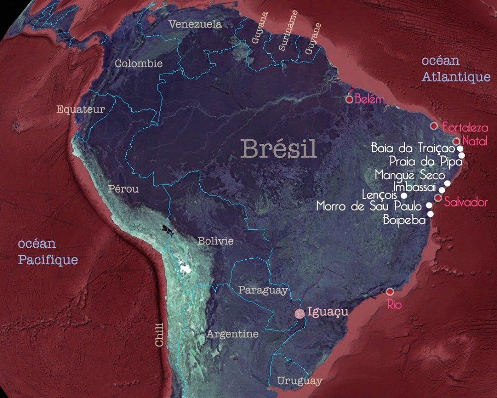 Carte du Brésil et pays voisins – sites coups de coeur de Sergio