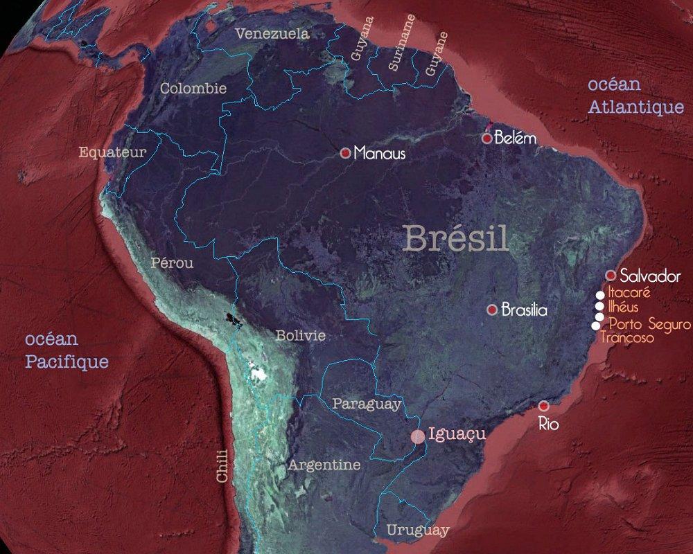 Carte du Brésil – Etapes du voyage de Nivea au sud de Bahia