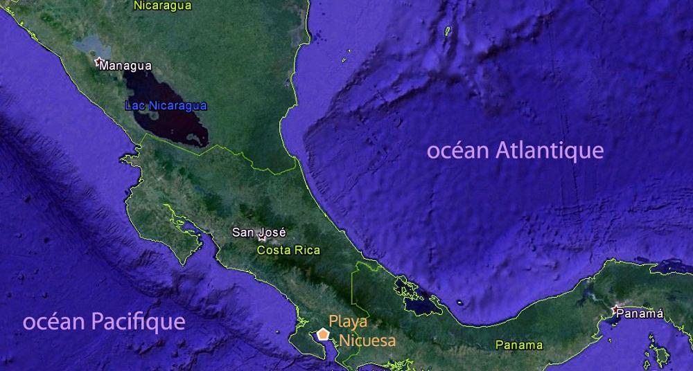 Carte du Costa Rica – Playa Nicuesa – carnet de voyage de Barbara, Terra Caribea