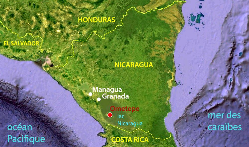 Carte du Nicaragua, voyage découverte Ometepe