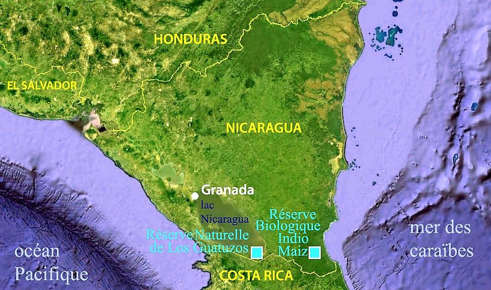 Carte du Nicaragua – réserves natureles de Los Guatuzos et Réserve Biologique Indio Maiz – Terra Nicaragua