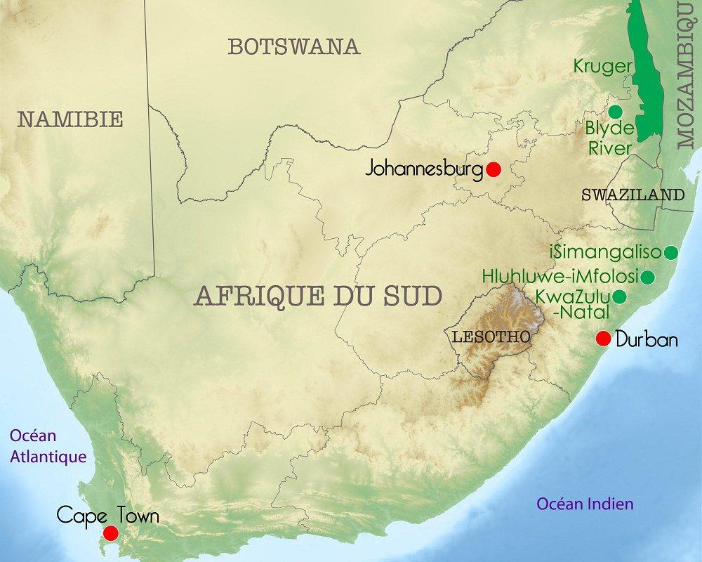 Carte d'Afrique du Sud – étapes du voyage de Morgane – Terra South Africa