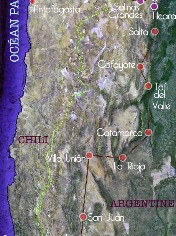 Rallye voitures anciennes 2017 – Argentine & Chili – carte des étapes