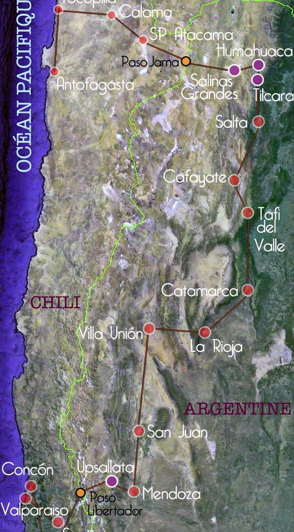 carte des étapes du rallye Argentine Chili