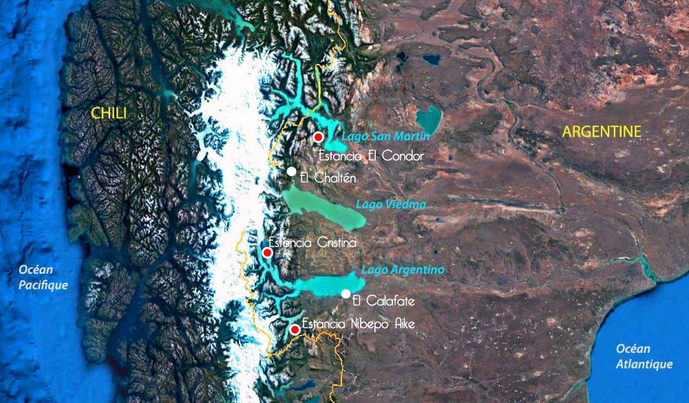 Carte de Patagonie argentine, estancias visitées par Désirée, Terra Argentina