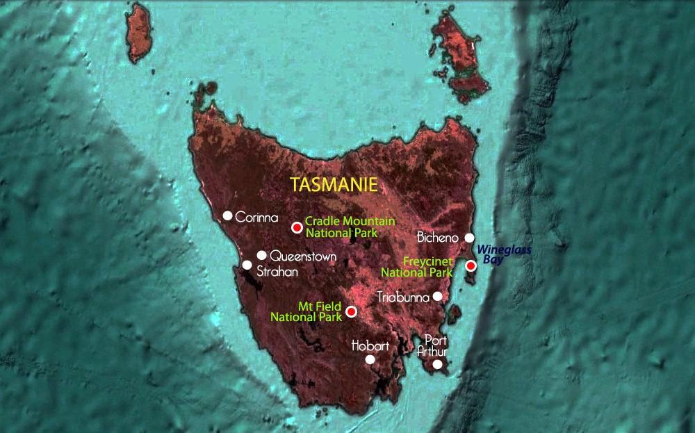 Carte de Tasmanie – étapes du voyage de Christophe – Terra Australia