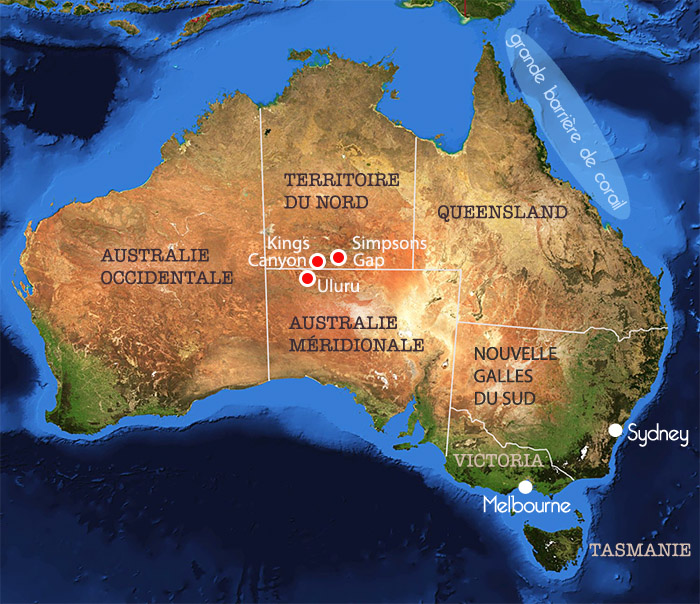 Carte de l'Australie – le Centre Rouge : Uluru, Kings Canyon, Simpsons Gap