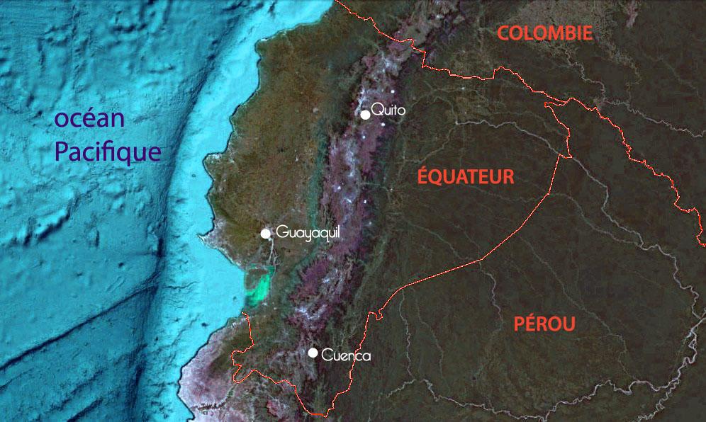 Carte de l'Equateur, frontières avec la Colombie et le Pérou