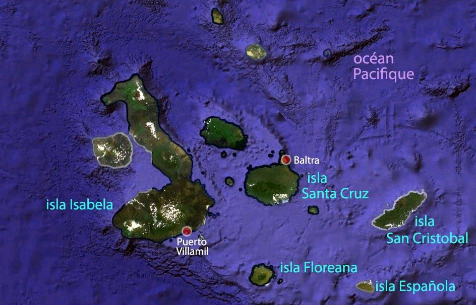 Carte des Galapagos, à 1000km au large de l'Equateur