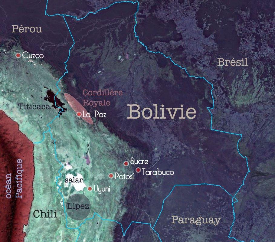 Carte de Bolivie – sites visités par Maxime