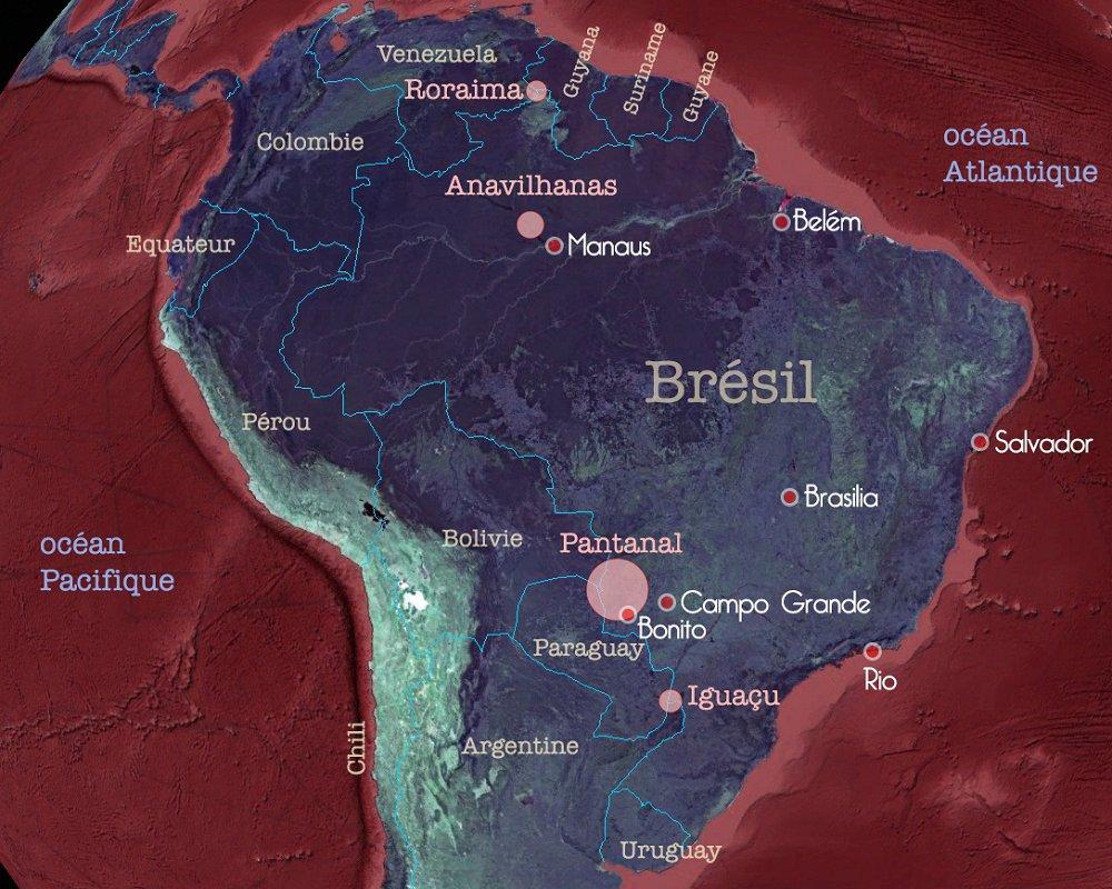 Carte des régions brésiliennes visitées par Luiza, Nivea et Luc