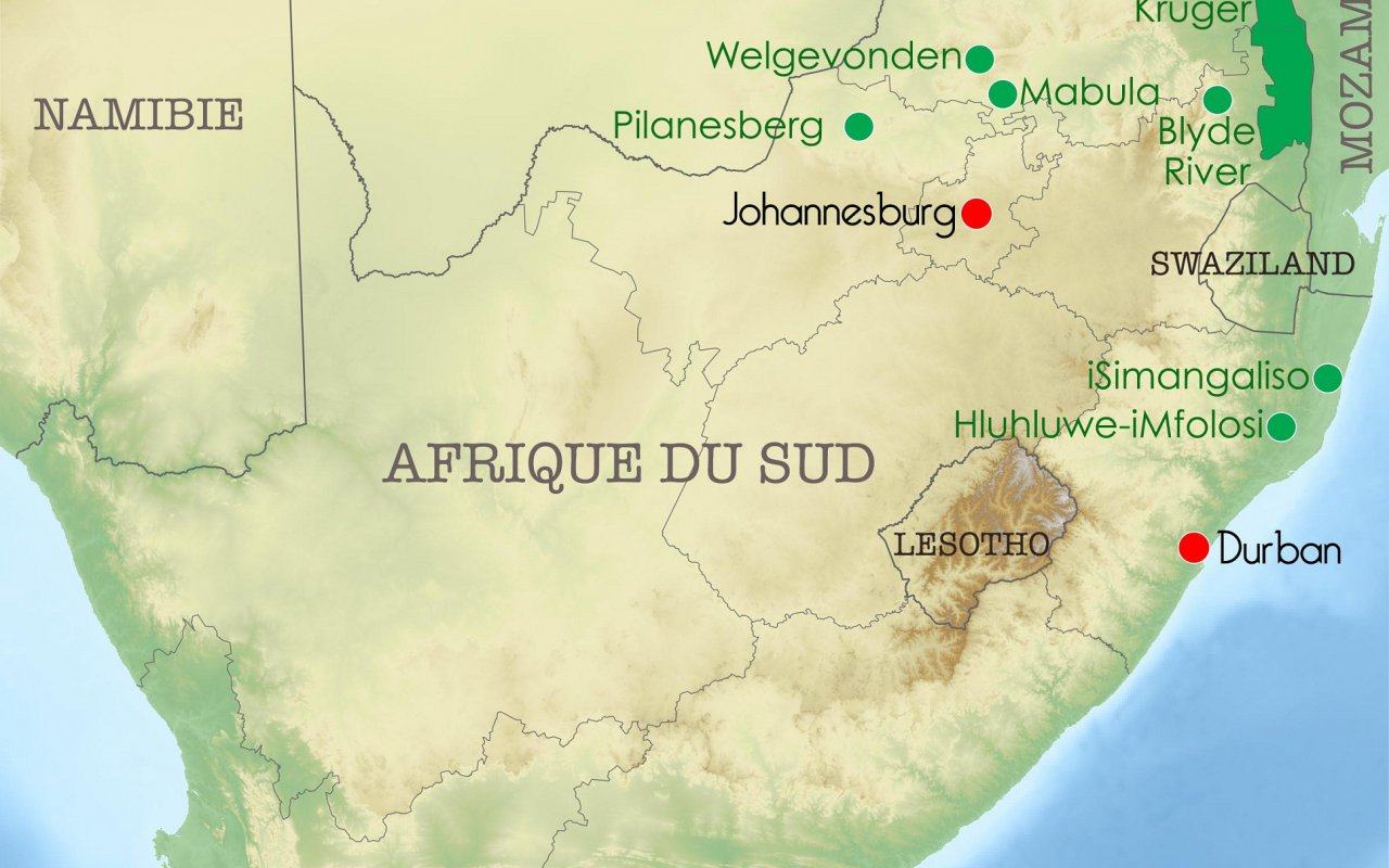 Carte Afrique du Sud – étapes du voyage de Laurène