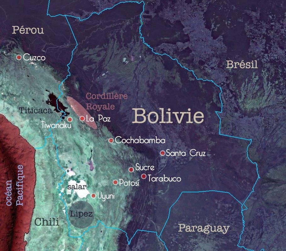 Carte de la Bolivie – étapes du voyage de Constance