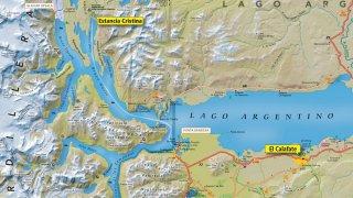 Carte de la région de El Calafate – Estancia Cristina et Lac Argentino, Patagonie argentine