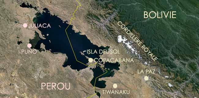 Carte du Lac Titicaca – Frontière Bolivie-Pérou