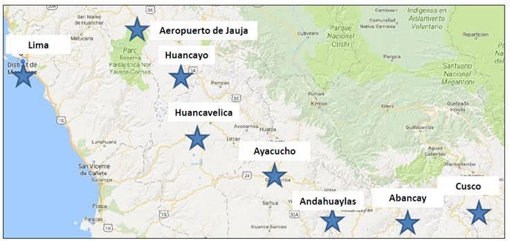 Carte du Pérou, étapes du voyage de Marion & Alex, Terra Peru, agence de voyages sur mesure au Pérou