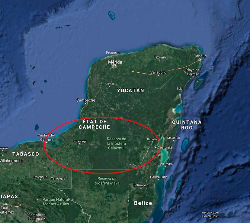 Carte de la reco de Coco à Calakmul