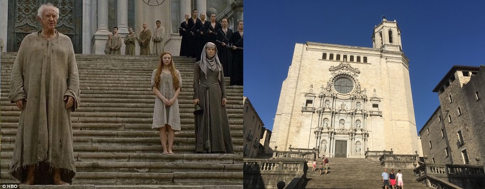La cathédrale de Gérone, une des scènes de tournage de Games of Thrones