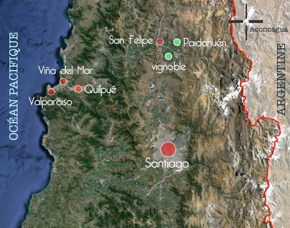 Carte des étapes du séminaire interandin au Chili
