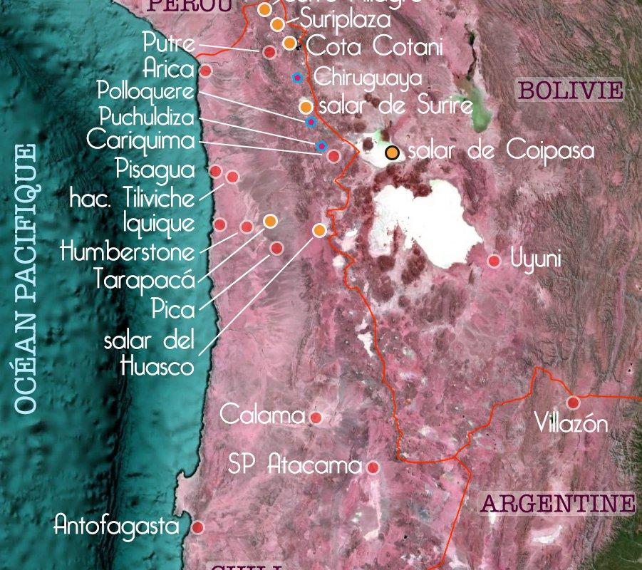 Carte des étapes du voyage de Cassandre & Arnaud dans le Grand Nord du Chili