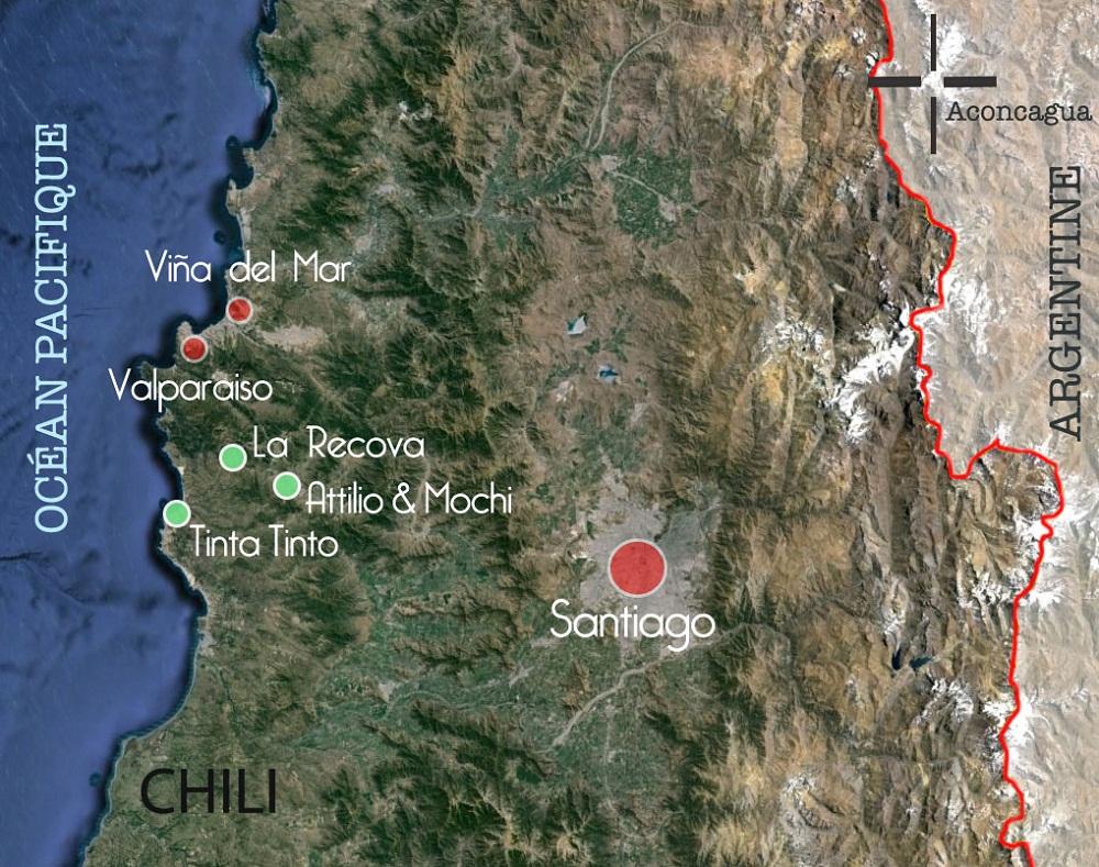 Carte des vignobles visités par la team terra Chile