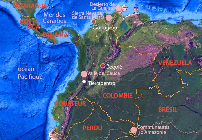 Carte de Colombie – étapes du voyage de Galvin, Terra Colombia