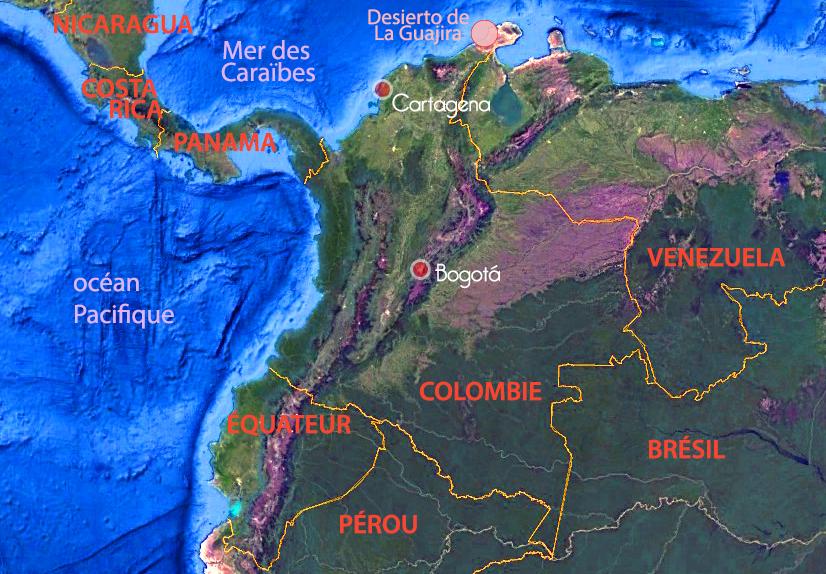 La Guajira, Carte de la Colombie, Terra Colombia
