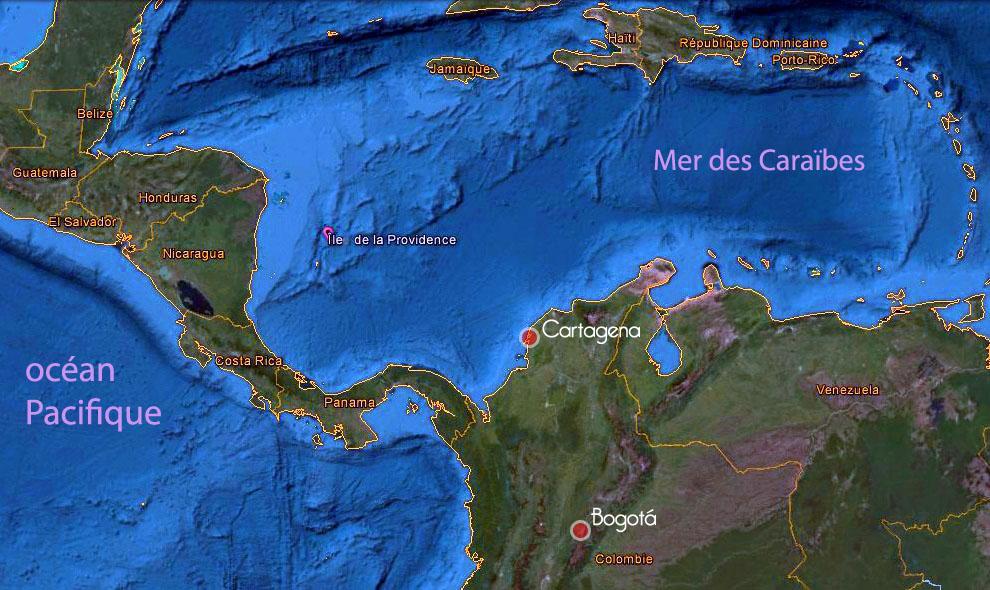 Carte de la mer des Caraïbes, Île de la Providence, Colombie