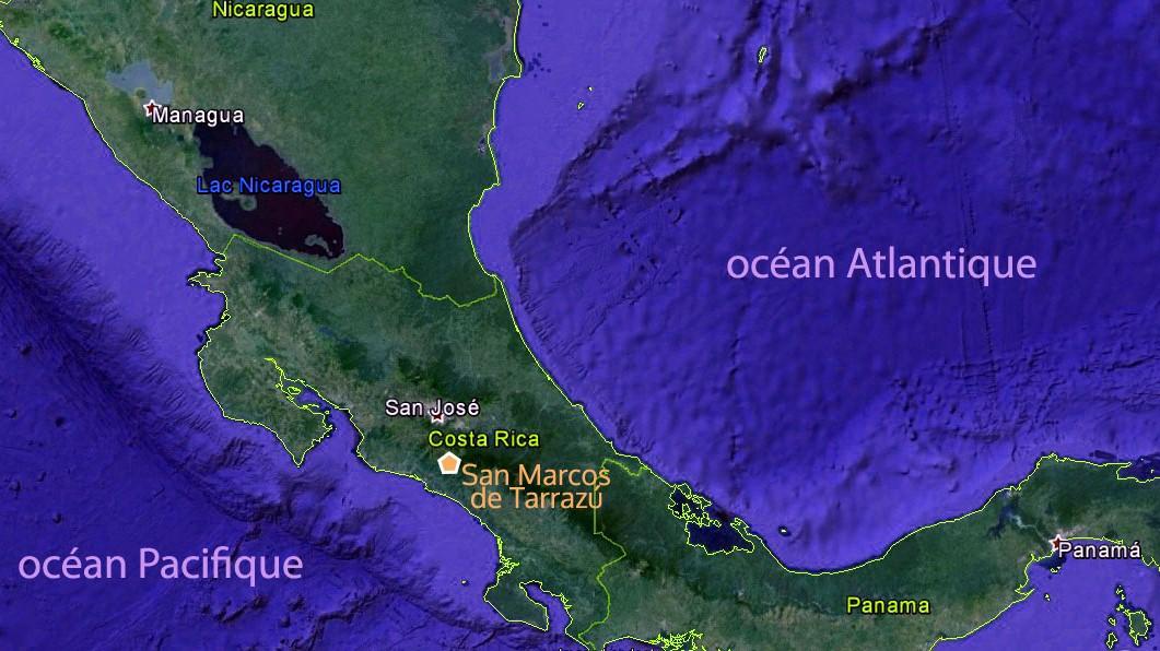 Carte du Costa Rica – vallée centrale cafetera