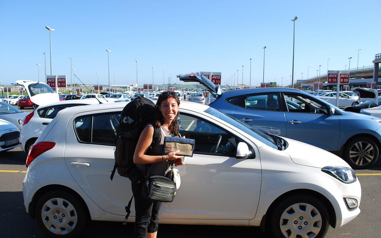 Départ de l'aéroport de Johannesburg avec ma voiture et la pochette Terra