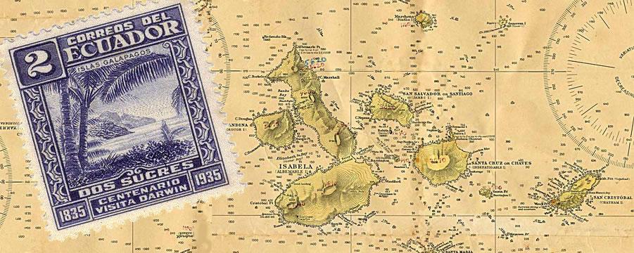 Carte de l'archipel des Galapagos au large de l'Equateur