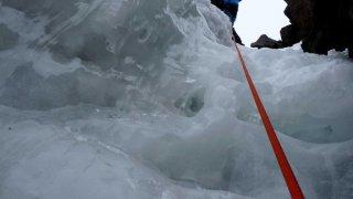 La cascade de glace en fin de goulotte – Condoriri