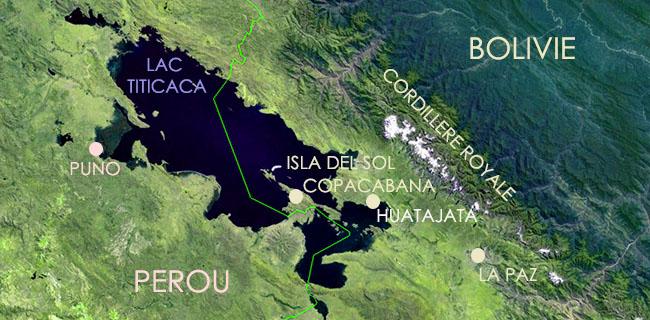 carte du Lac Titicaca, frontière Bolivie Pérou