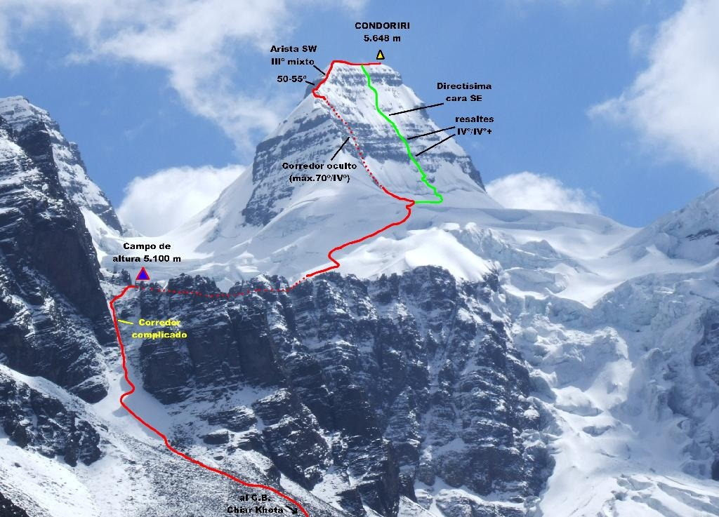 Le parcours de l'ascension – Condoriri, Bolivie