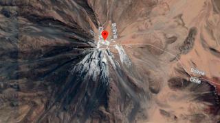 Licancabur, carte de la frontière Bolivie et Chili – volcans Amérique Latine – © Google Maps 2019