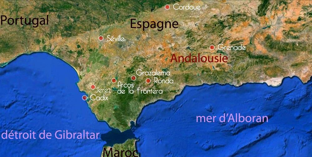 Carte de l'Andalousie, étapes du voyage de Sophie