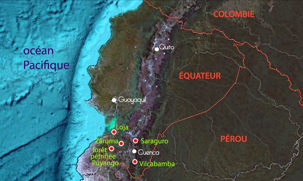 Carte des étapes du voyage de Niko au Sud de l'Equateur