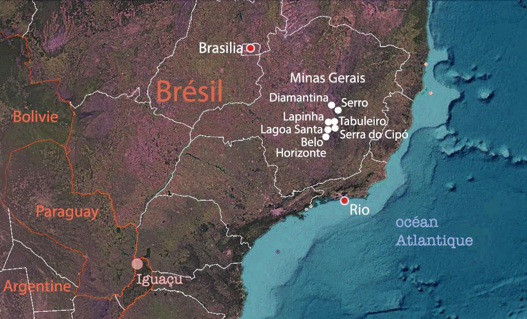 Carte du Minas Gerais, Brésil – étapes du voyage de Luiza, Terra Brazil