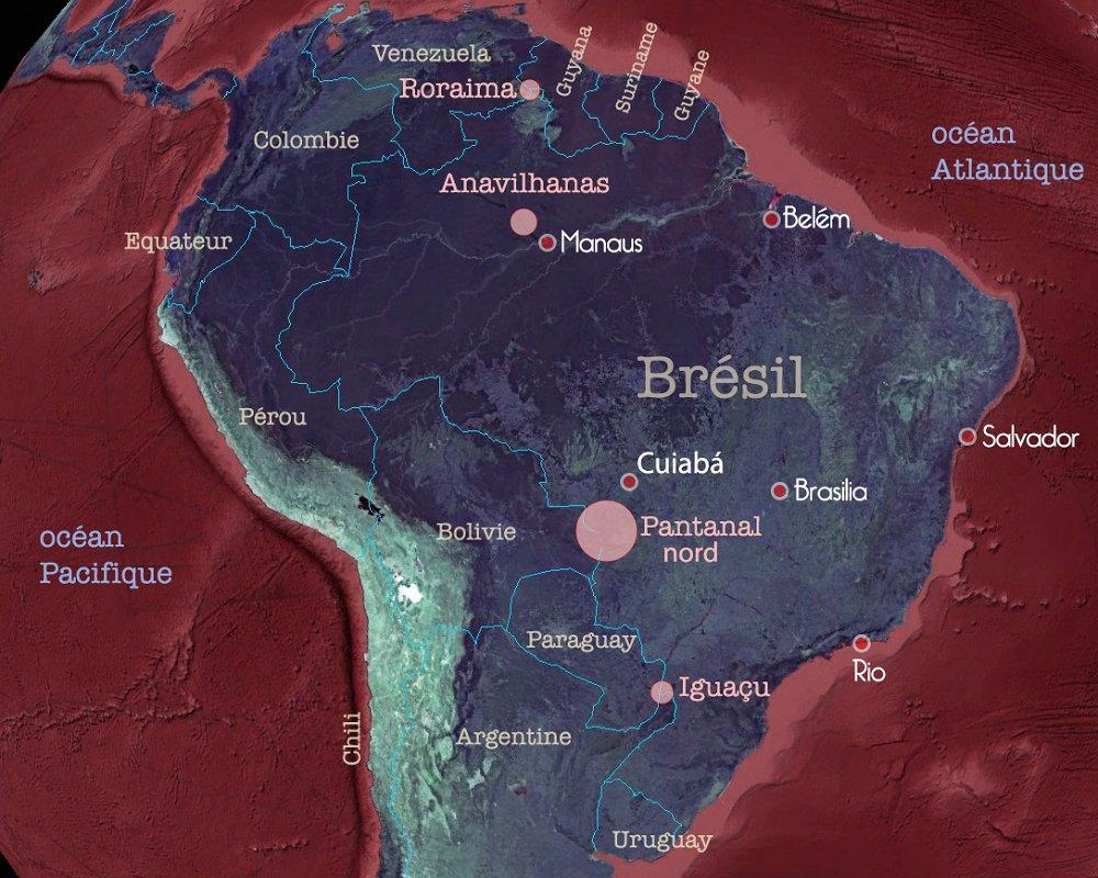 Carte du Brésil, Pantanal nord
