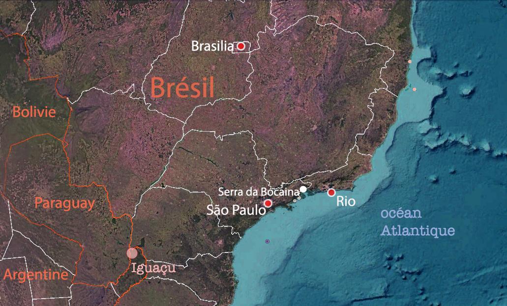 Carte du sud Brésil, Serra da Bocaina, entre Rio et São Paulo