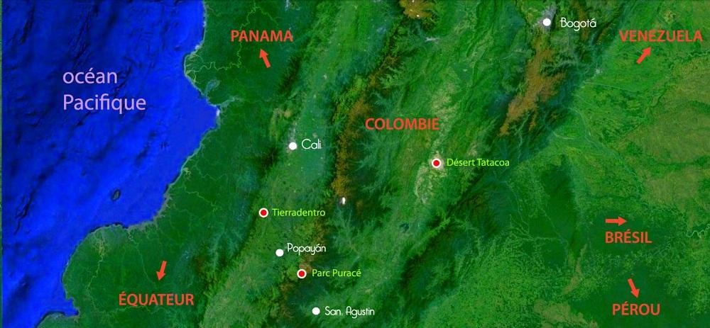 Carte du Sud de la Colombie – étapes du voyage de Maxence – Terra Colombia