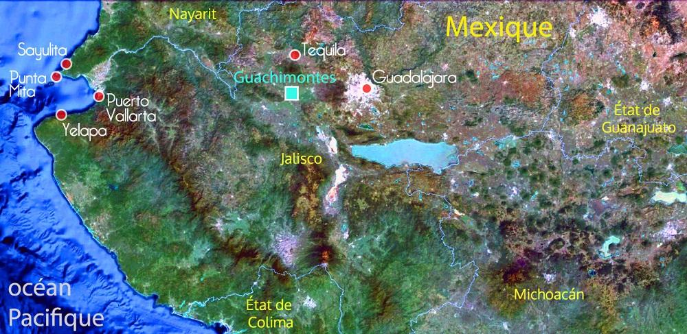Carte du Mexique – Jalisco et la côte pacifique