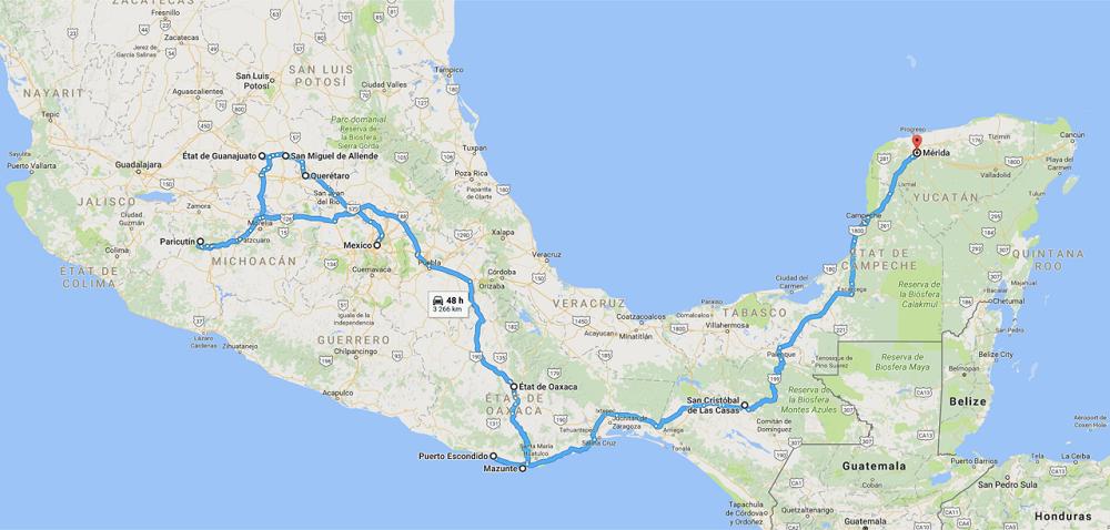 carte Mexique – voyage de Sébastien de Mexico à Merida