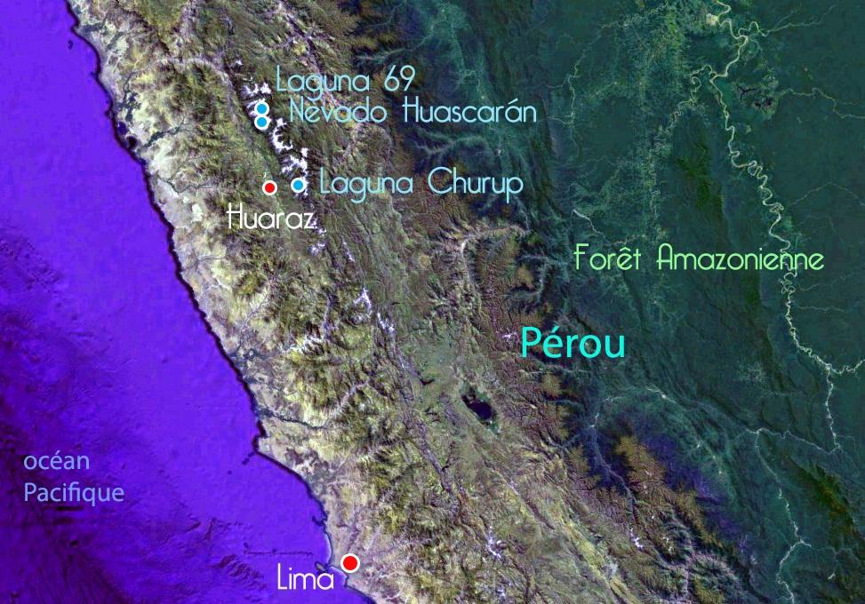 Carte du Pérou – Huaraz, ses lagunes et le Huascaran