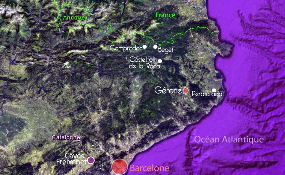 Carte de la Catalogne – villages visités par Edouard, Terra España