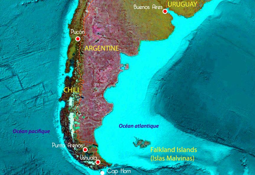 Carte du Sud de l'Amérique du Sud : Argentine et Chili, Cap Horn